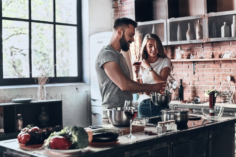 Couple Cooking Kitchen Brick Wall