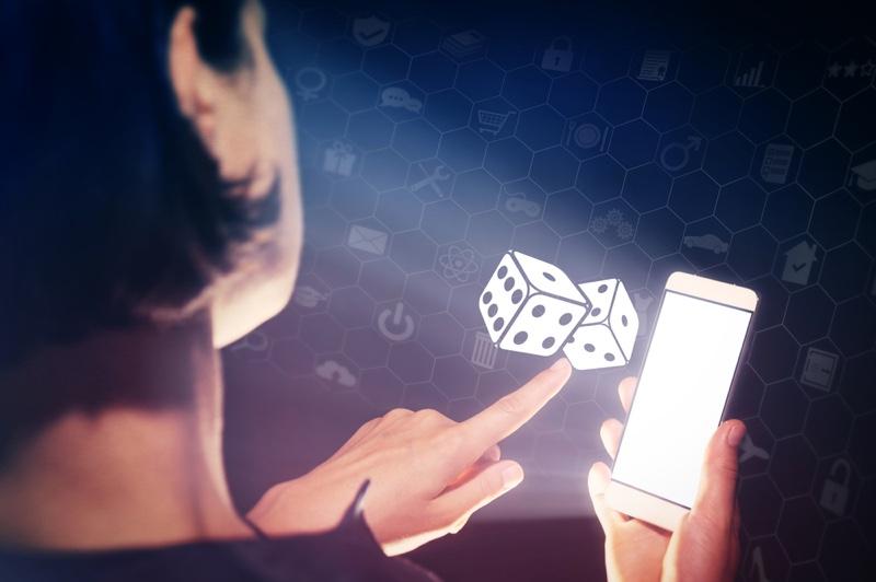 Dice Phone Gambling Casino Concept