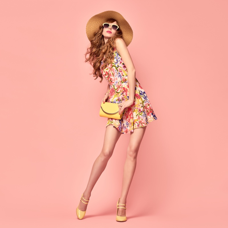Fashion Model Floral Print Dress yellow Bag Shoes Pink Background