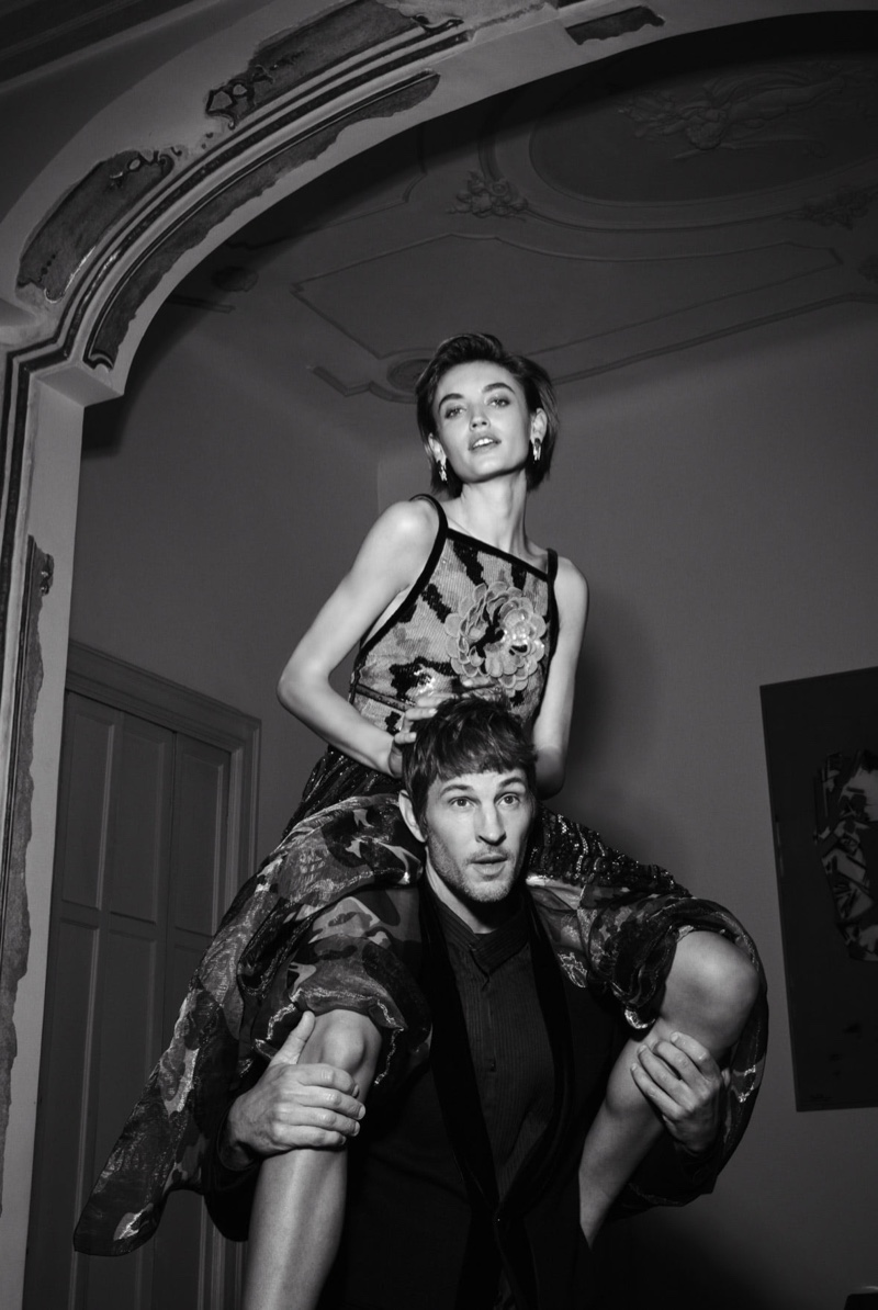 Beatrice Brusco poses on Kelly Rippy's shoulders for Giorgio Armani Holiday 2020 campaign.