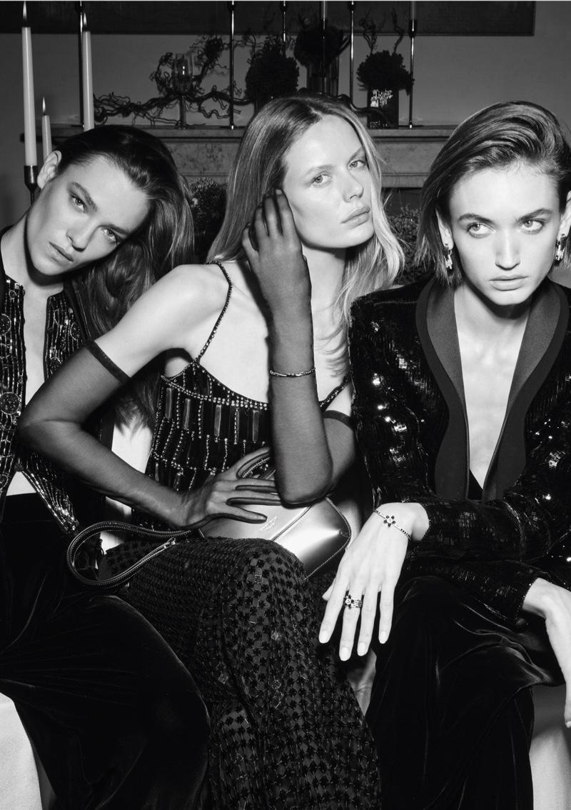 Lisa Louis Fratani, Marlijn Hoek, and Beatrice Brusco wear festive looks in Giorgio Armani Holiday 2020 campaign.