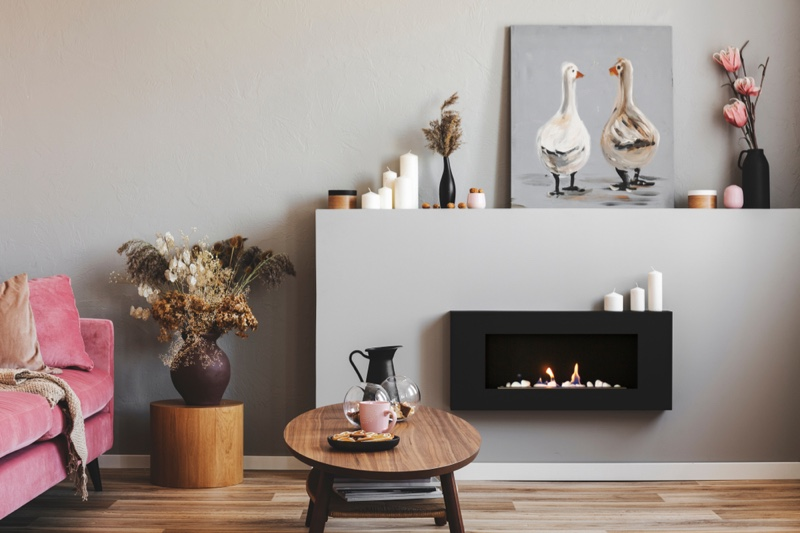 Interior Home Decor Electric Fireplace Candle Duck Painting