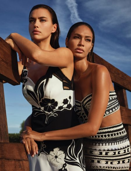Irina Shayk and Joan Smalls star in Ermanno Scervino spring-summer 2021 campaign.