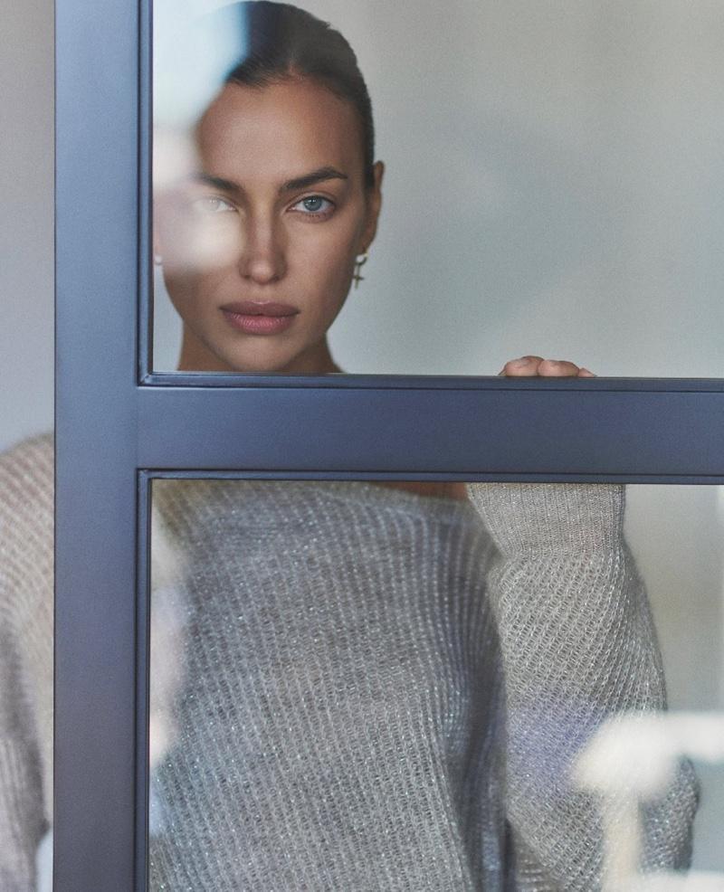 Ready for her closeup, Irina Shayk wears Falconeri cashmere sweater.