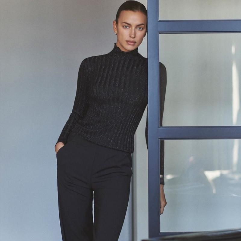 Irina Shayk models Falconeri holiday cashmere sweaters.