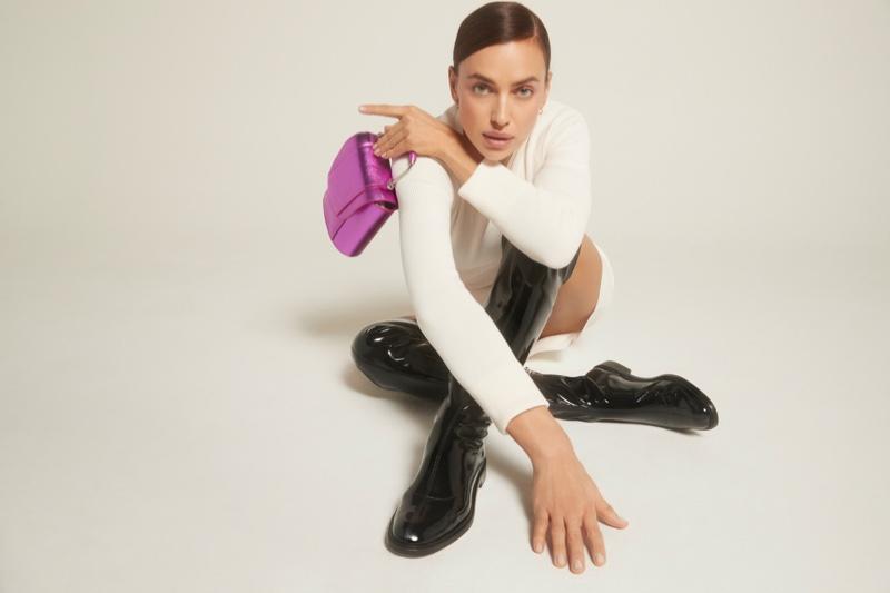 Supermodel Irina Shayk poses for Schutz Holiday 2020 campaign.