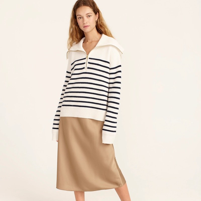J. Crew Cashmere Half-Zip Pullover Sweater in Stripe $298