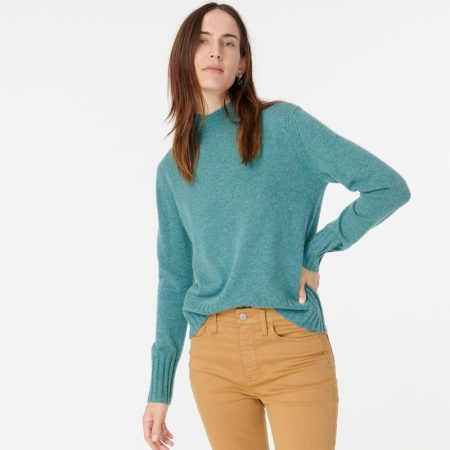 J. Crew Cashmere Mockneck Sweater in Bright Harbour $113
