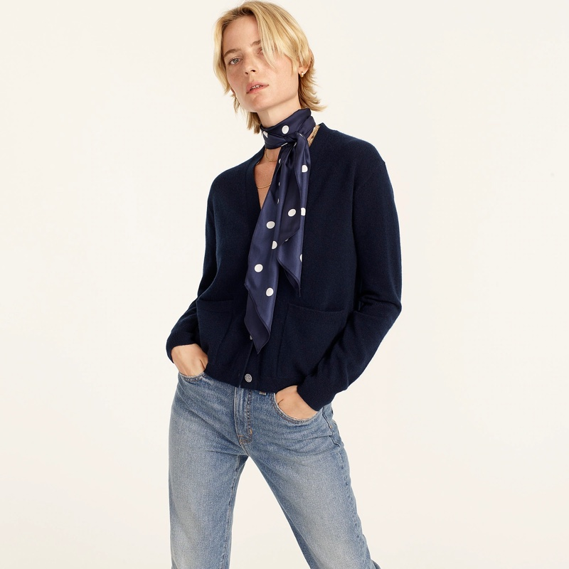 J. Crew Cashmere Relaxed Pocket Cardigan Sweater in Navy $148