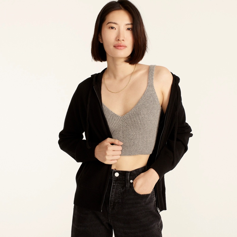 J. Crew Cashmere Relaxed Zip-Up Hoodie in Black $178
