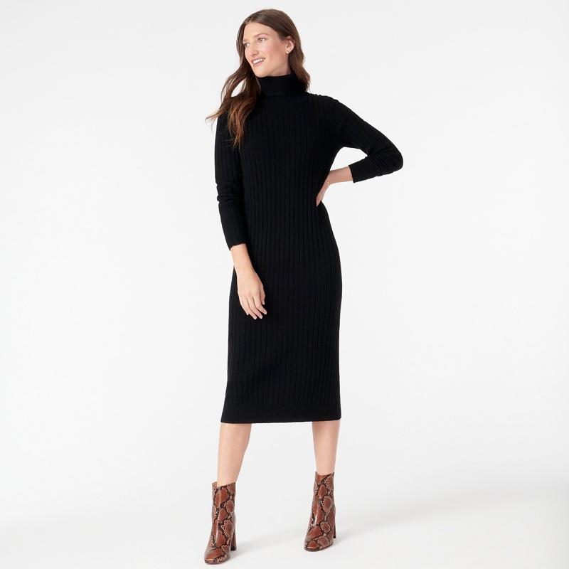 J. Crew Cashmere Turtleneck Sweater-Dress in Black $203
