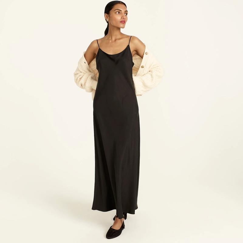 J. Crew Eco Cupro Slip Dress in Black $128