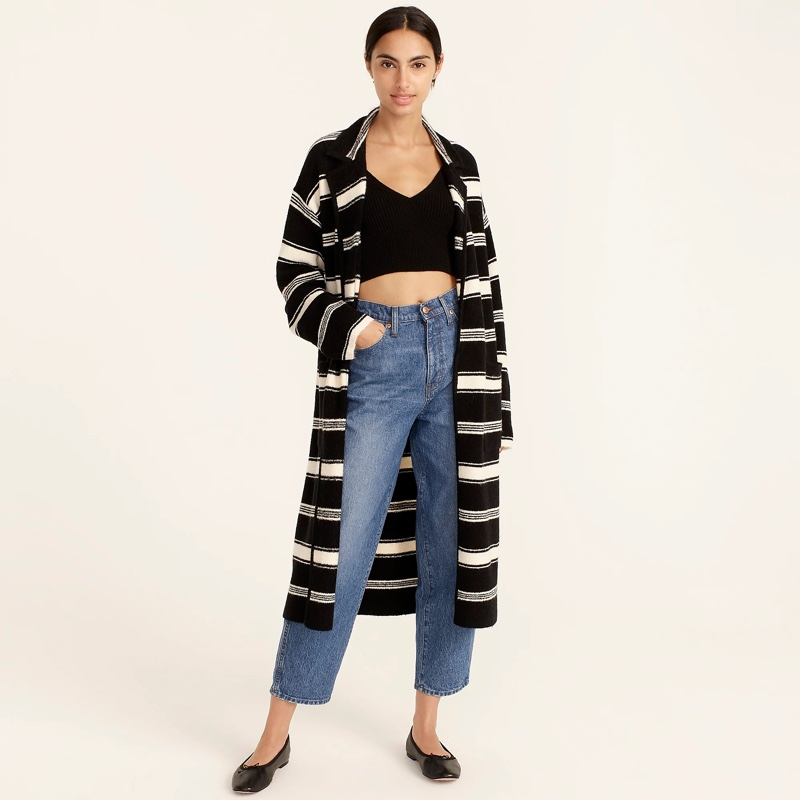 J. Crew Long Sweater-Coat Stripe $188