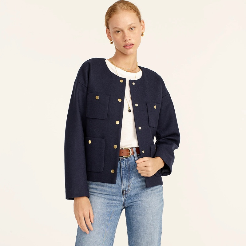 J. Crew Relaxed Lady Jacket in Double Serge Wool $298