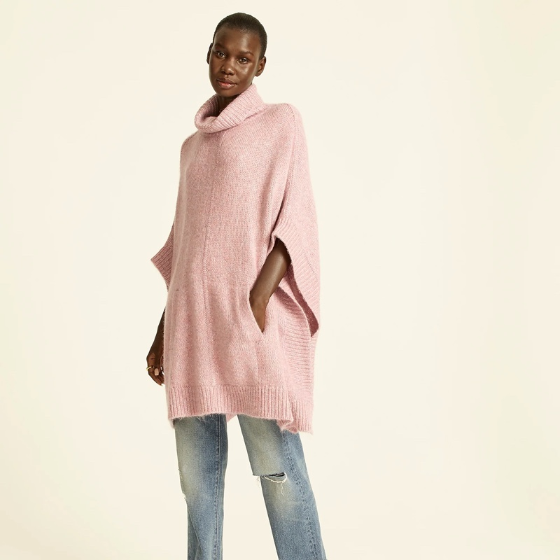 J. Crew Relaxed Turtleneck Poncho in Wisteria $158