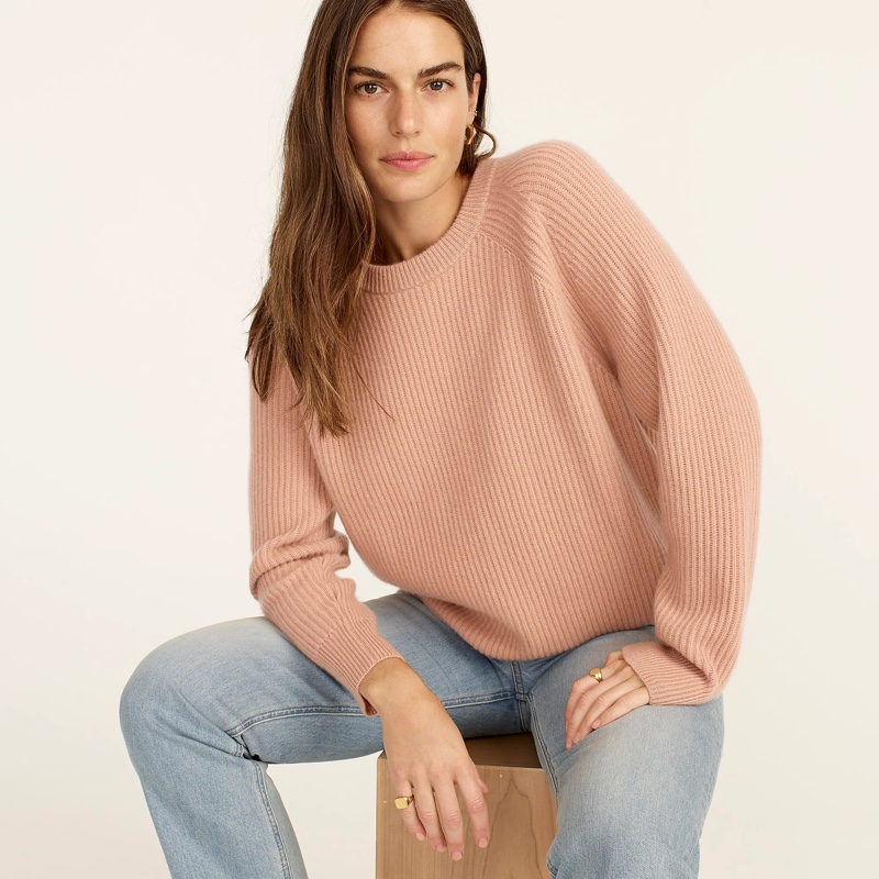 J. Crew Ribbed Cashmere Oversized Crewneck Sweater in Rosy Dune $198