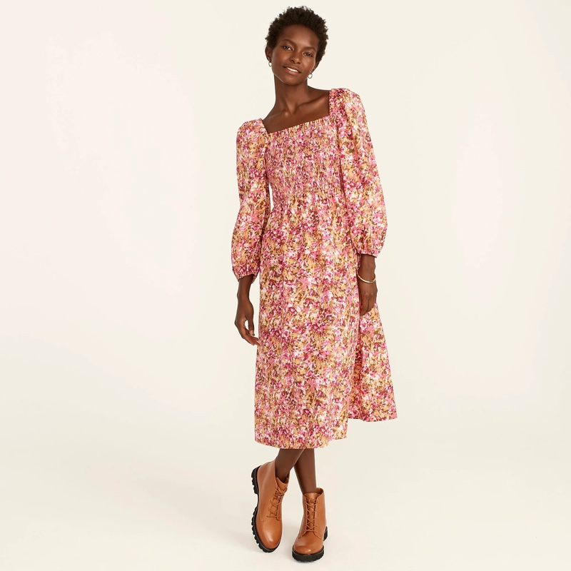 J. Crew Smocked Puff-Sleeve Dress in Faded Floral $128