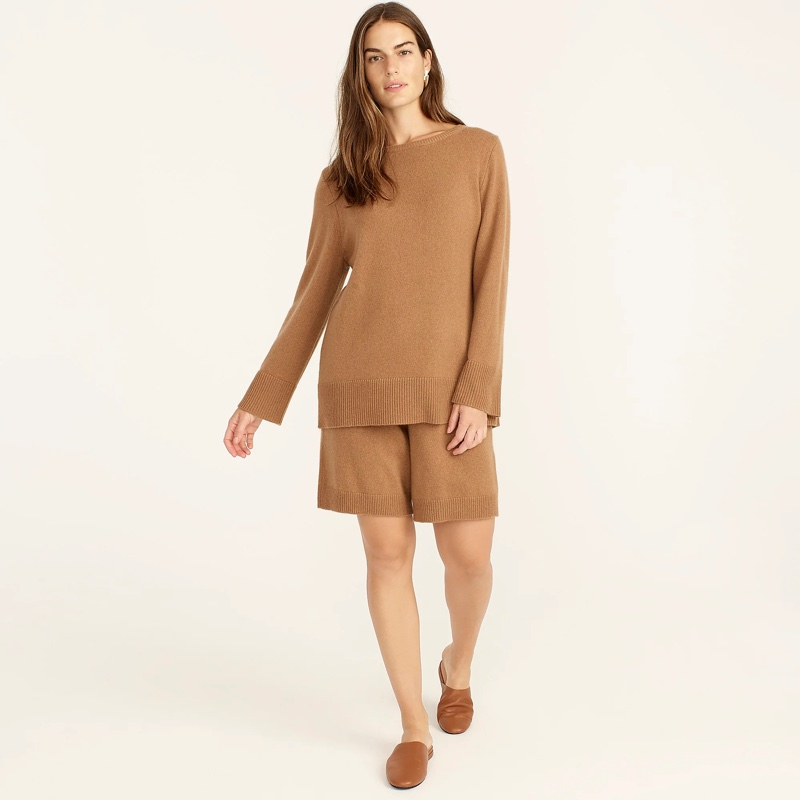 J. Crew Wool & Recycled Cashmere Oversized Crewneck Sweater in Hillside Brown $148