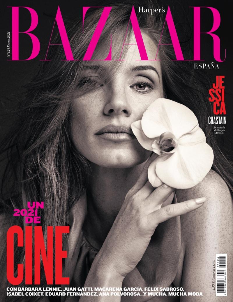 Jessica Chastain on Harper's Bazaar Spain January 2021 Cover. Photo: David Roemer