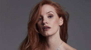 Jessica Chastain poses in Celine dress with Piaget necklace. Photo: David Roemer
