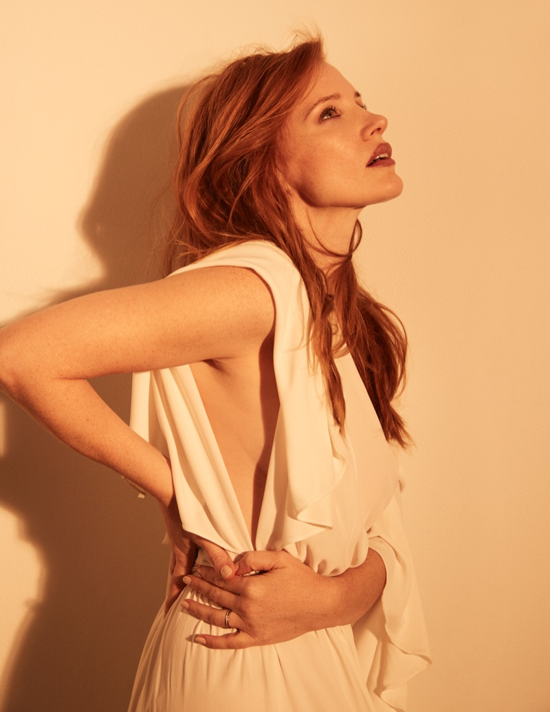 Jessica Chastain wears a white dress in this shot. Photo: David Roemer