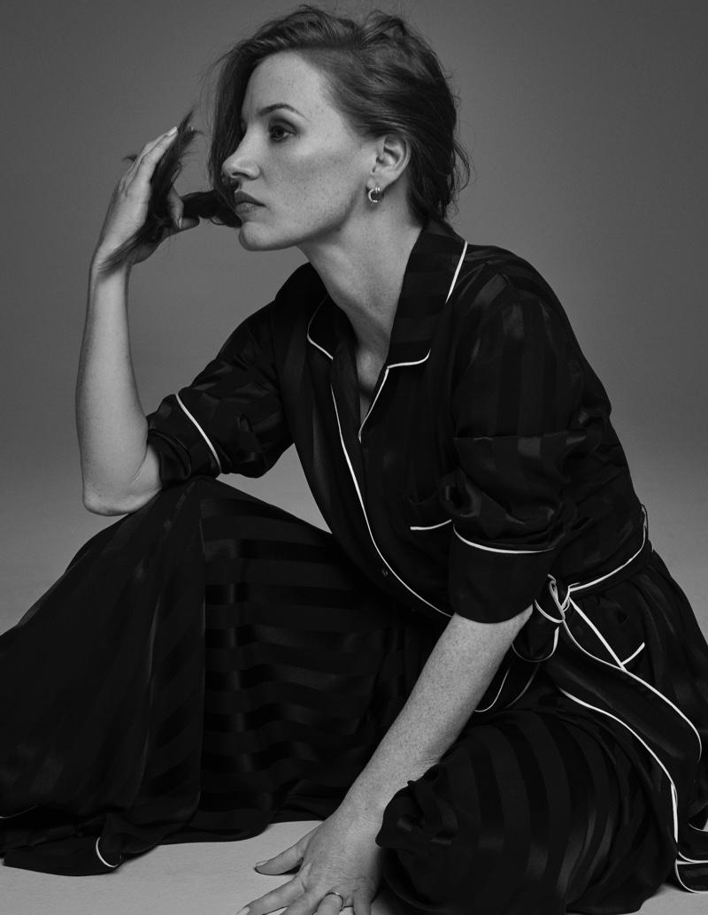 Actress Jessica Chastain wears Dolce & Gabbana pajamas and Piaget jewelry. Photo: David Roemer
