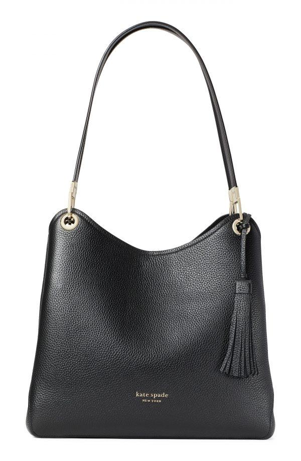 Kate Spade New York Large Loop Leather Shoulder Bag - Black
