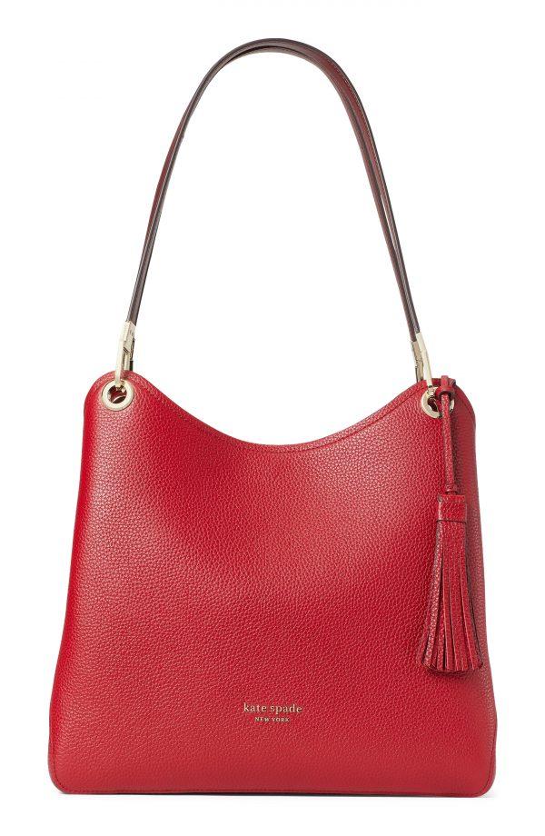 Kate Spade New York Large Loop Leather Shoulder Bag - Red