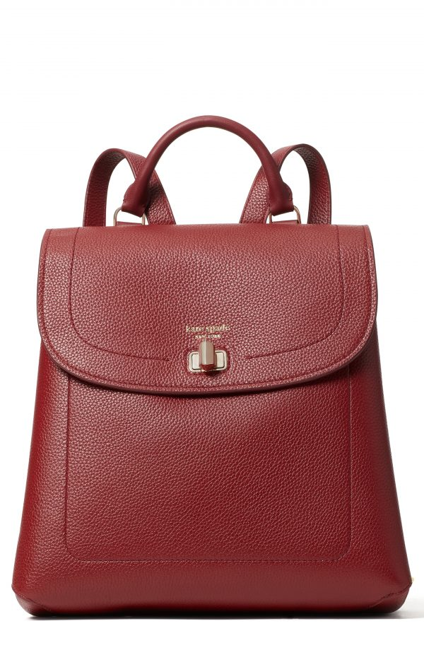 Kate Spade New York Medium Essential Leather Backpack - Burgundy