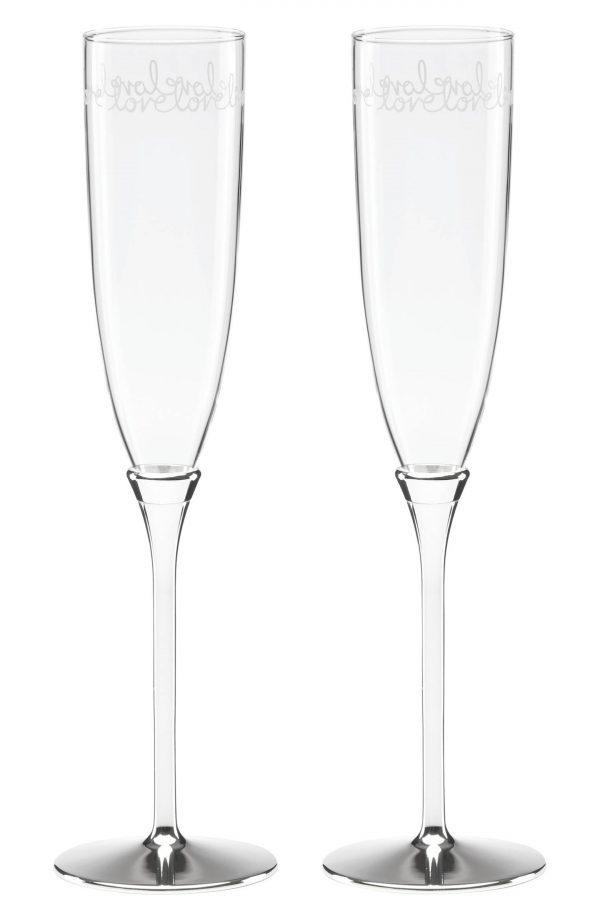 Kate Spade New York Set Of 2 Toasting Flutes, Size One Size - Metallic