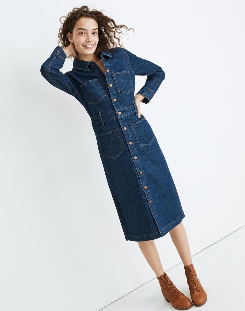 Madewell Denim Snap-Front Midi Shirtdress $89.99