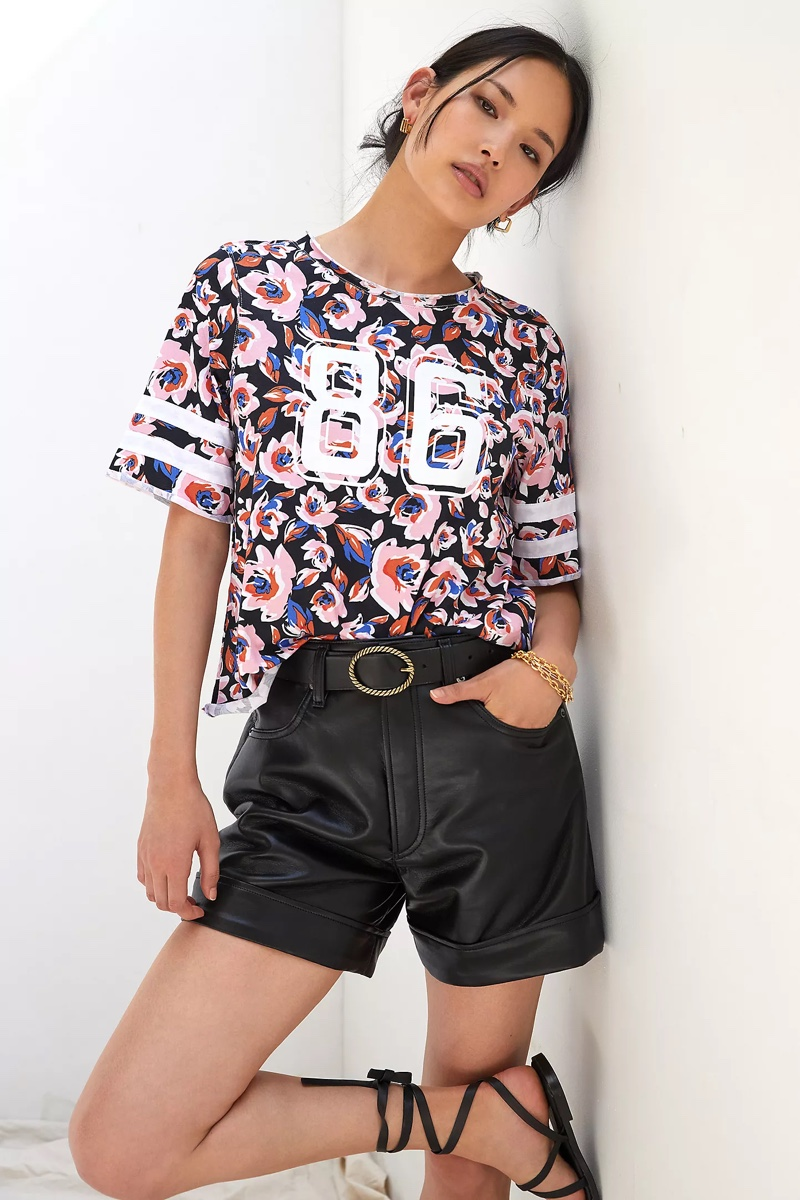 Maeve Floral Varsity Graphic Tee $60