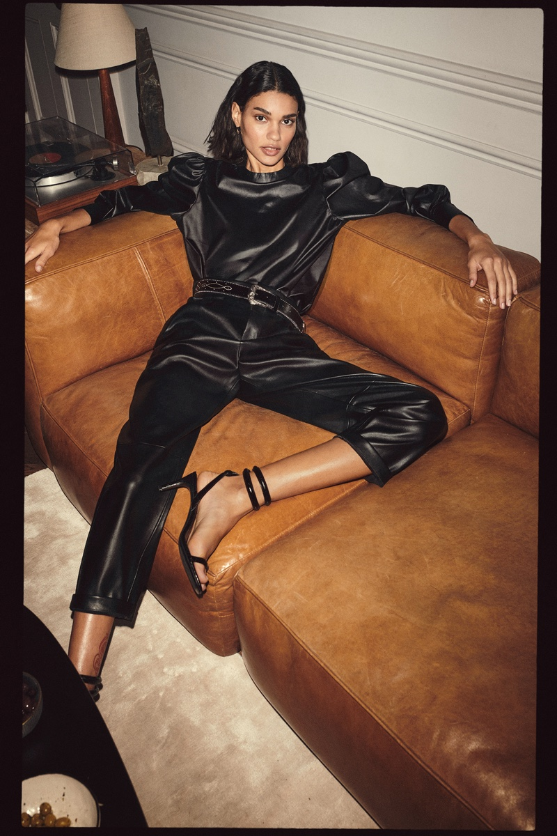 Barbara Valente models black look for Mango party edit.