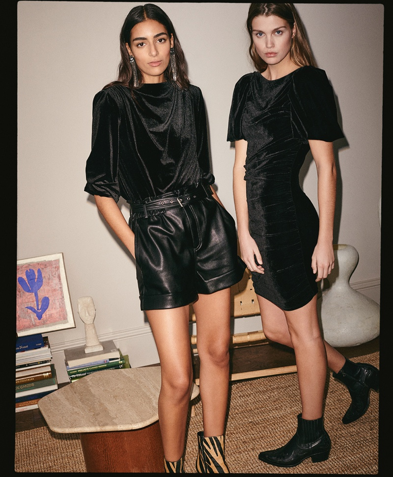 Nora Attal and Luna Bijl model chic black looks for Mango's 2020 party edit.