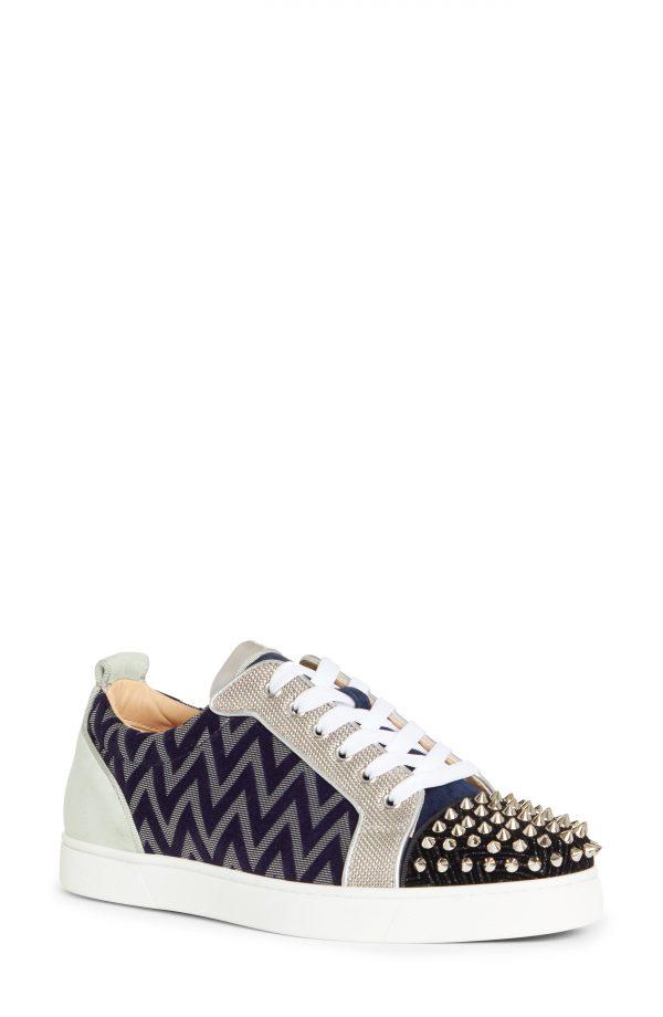 Men's Christian Louboutin Louis Junior Spikes Sneaker, Size 6US - Black