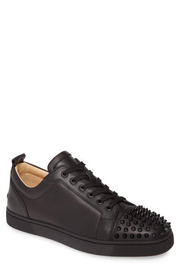 Men's Christian Louboutin Louis Junior Spikes Sneaker, Size 7US - Black