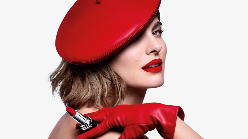 Natalie Portman shows off red lips in Dior Rouge Dior 2021 lipstick campaign.