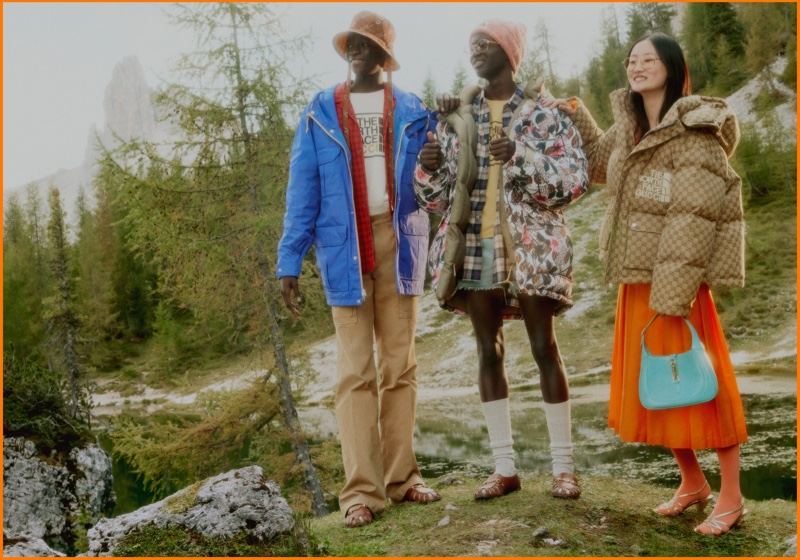 Outerwear from The North Face x Gucci collaboration features 1970s inspired silhouettes.