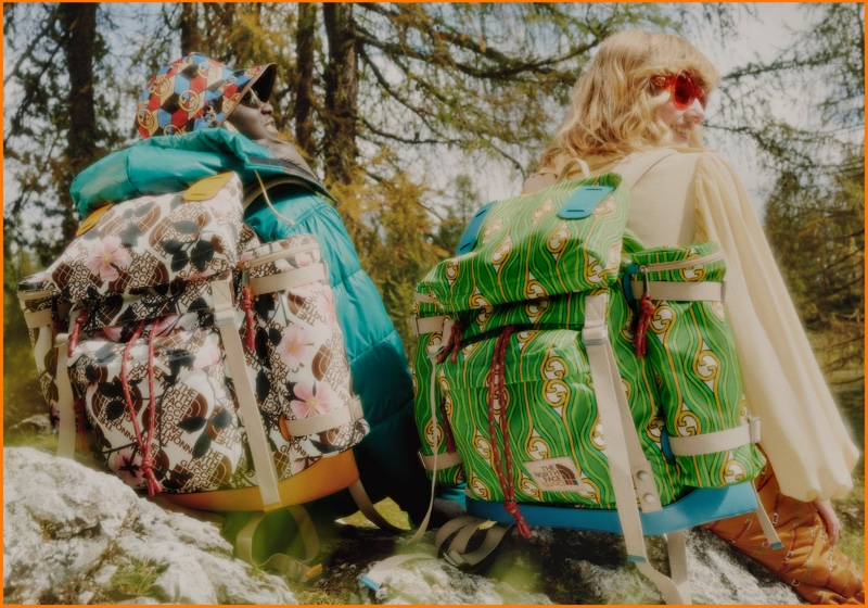 Backpacks from The North Face x Gucci collaboration are made from sustainable material.
