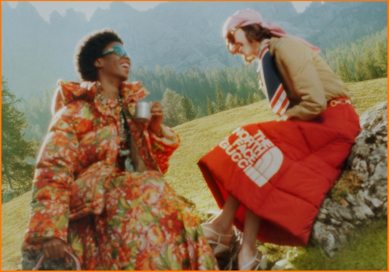 An image from The North Face x Gucci's advertising campaign.