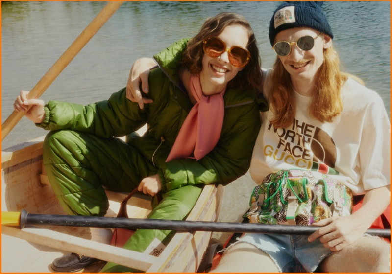 Models are all smiles in The North Face x Gucci campaign.
