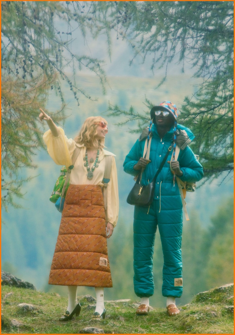 Models go sightseeing in The North Face x Gucci campaign.