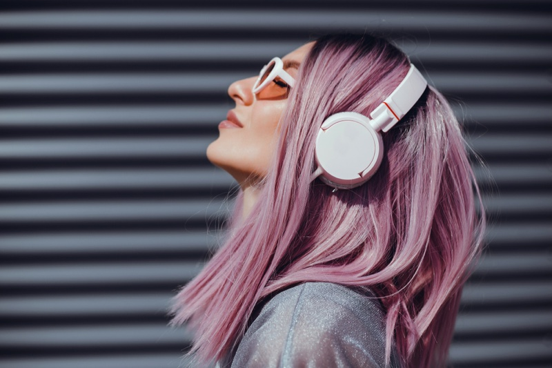 Pink Haired Woman Earphones