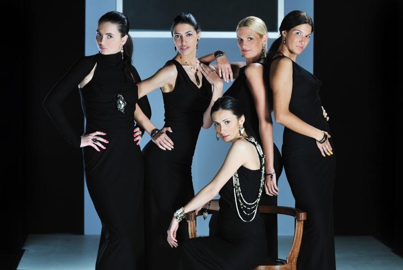 Posing Models Fashion Show Black Dresses