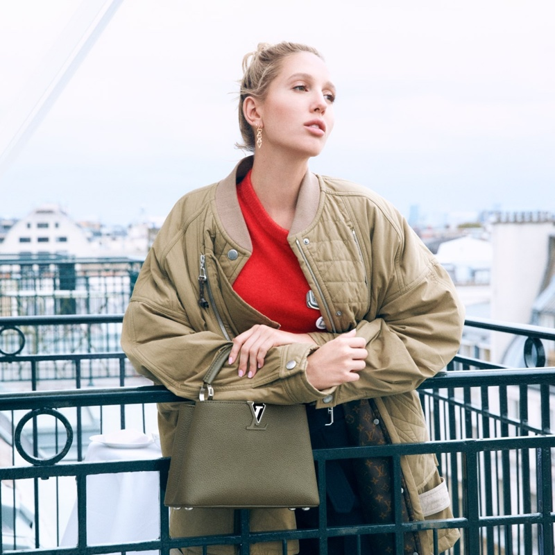 Princess Olympia of Greece appears in Louis Vuitton Capucines handbag campaign.