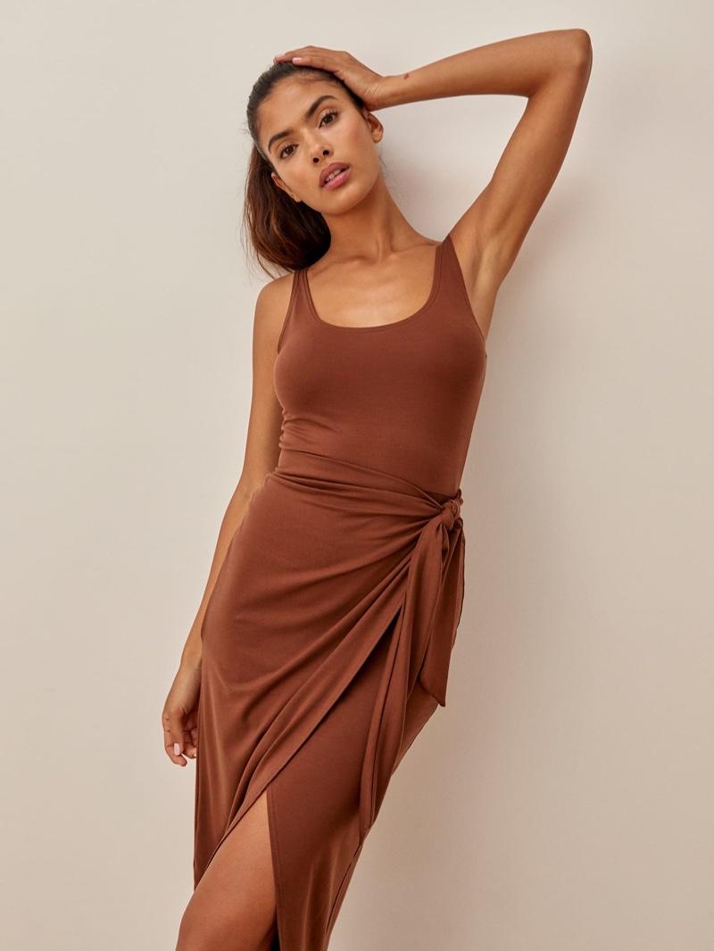 Reformation Kaila Dress in Chestnut $98