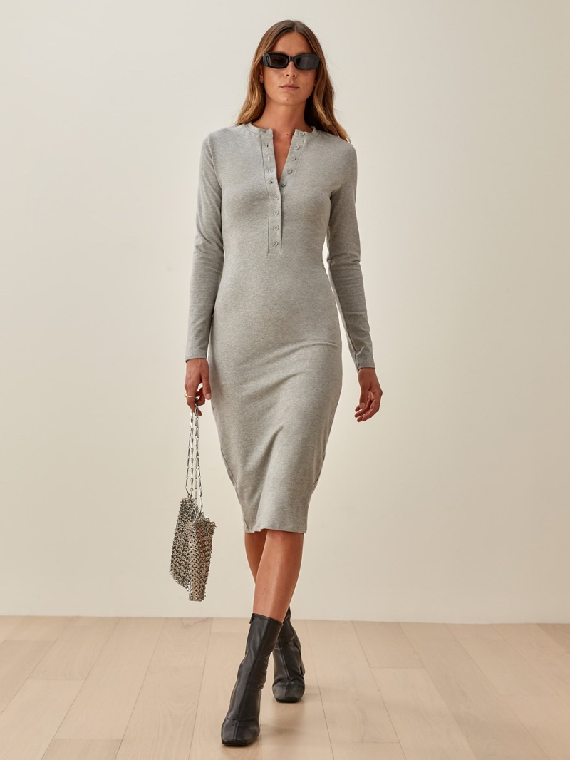 Reformation Stein Dress in Heather Grey $128