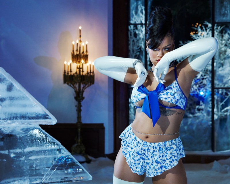 Rihanna wears Savage x Fenty Plush Velvet Tie-Front Unlined Bra and Peek-a-Boo Sleep Short.