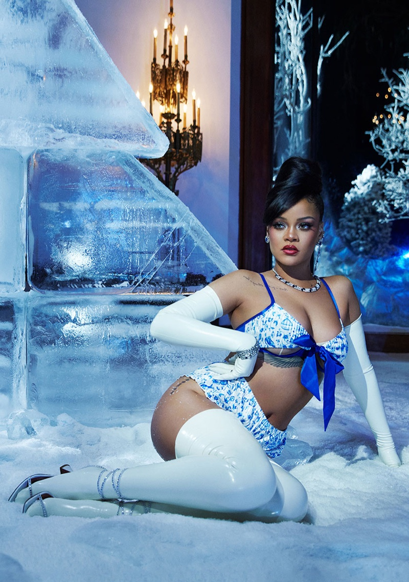 Singer Rihanna appears in Savage x Fenty Holiday 2020 lingerie campaign.