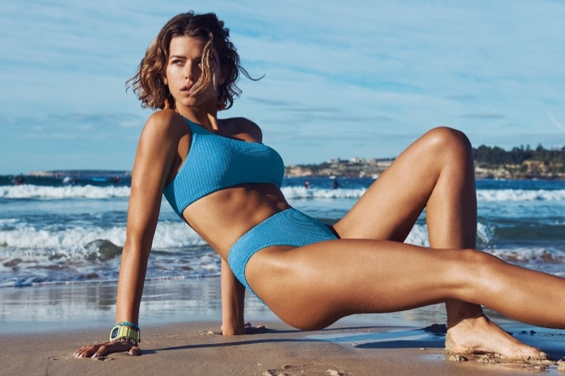 Posing at the beach, Georgia Fowler appears in Seafolly summer 2020 campaign.